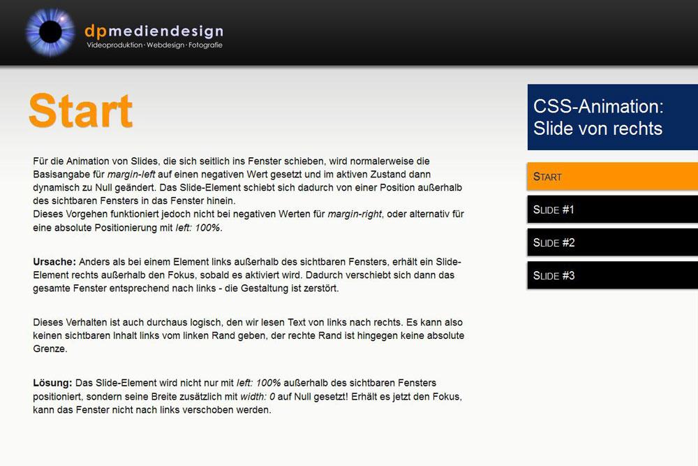 CSS Animation: Slide von rechts   dp mediendesign Göttingen